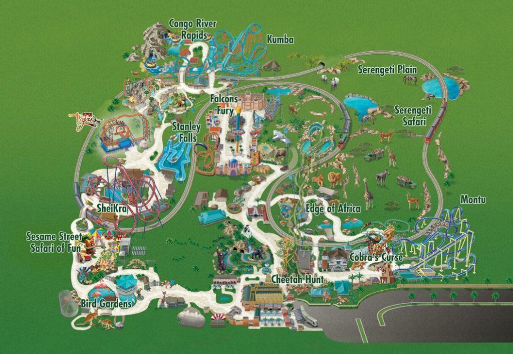 Busch Gardens park map.