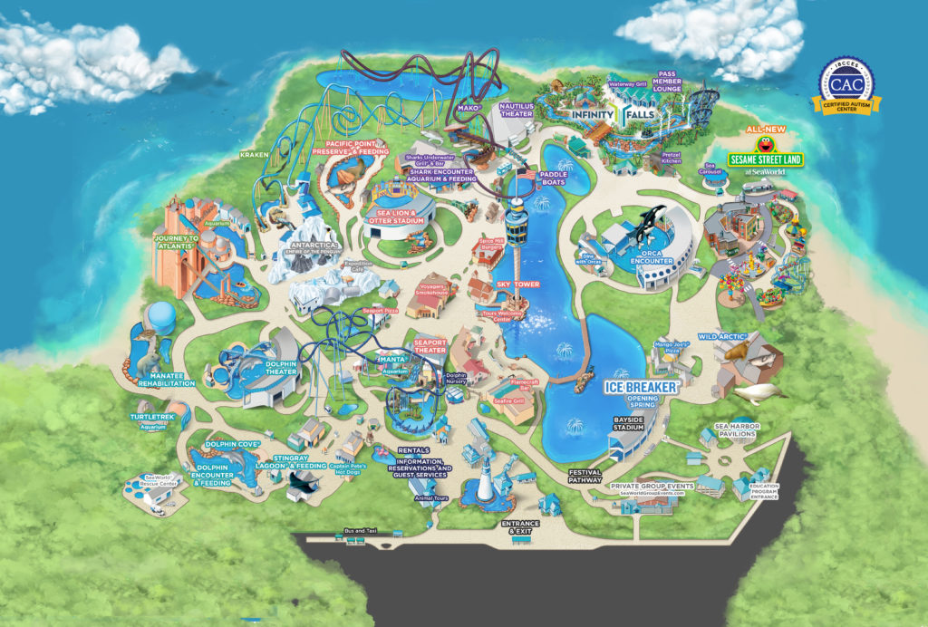 SeaWorld park map.